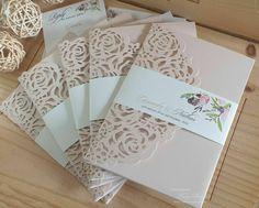 Pocketfold Lasercut Wedding Invitation 5x7