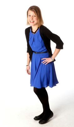 Rachel found this bright blue dress at Express for $40. The black cardigan was a Gap Outlet discovery and the black flats are from Kohl's, they were $12. (Allison Carey/The Plain Dealer)