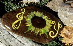 Hand Painted Idaho Rock-Decorative,Scripture-Sunflower- JOY-Paper Weight-Acrylic Original