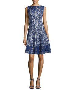 Lace Fit-and-Flare Cocktail Dress, Deep Lagoon by Tadashi Shoji at Neiman Marcus.