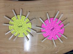 misscalcul8: Made 4 Math Monday: Equation Wheels  The yellow wheel is One-Step Equations and the pink is Two-Step Equations. There is an equation on each spoke of the wheel and the answer to the equation is on a clothes pin.