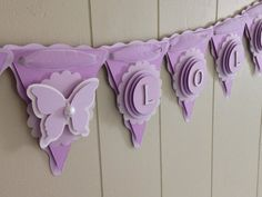 Girl Baby Shower Banner, Butterfly Baby Shower, Purple Baby Banner, Girl Name Banner, Custom Banner - Made to Order