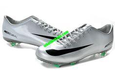 Nike Mercurial 2013 Cristiano Ronaldo Cleats Vapor 9 Firm Ground Cleats - Silver Black Green