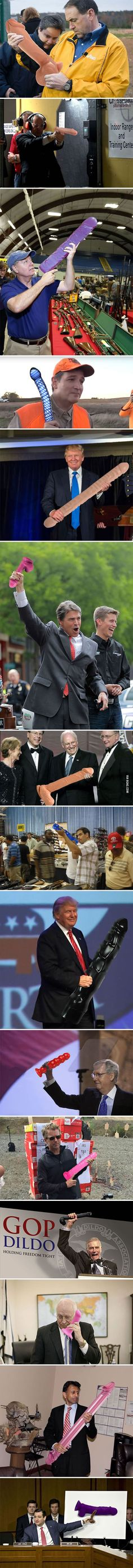 Some dude replaced guns with DILDOS in photos of Republican politicians