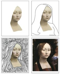 Leonardo Line Art Template When you leave a graphic design job to start teaching art, you just might find yourself making your own project materials. Line Art Projects, Drawing Projects, Classe D'art, Snowflakes Art, Jobs In Art, Ecole Art, Art Template, Middle School Art, Art Classroom