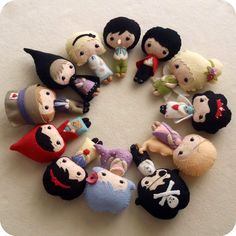 These are just TOO CUTE. Love the details.  Fairy Tale Dolls pdf Patterns -  via Etsy.