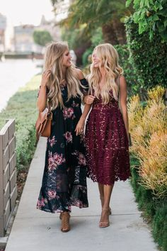 early fall occasions call for light, airy dresses in rich, fall tones.