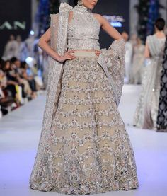"""""""Saira Shakira Zohra Bridals F/W 2016 The designing duo's latest bridal collection stays true to their vision with soft pastel tones all throughout, emphasized with embroidery and embellishments in the same tonal range as the suits themselves. Pakistani Bridal Wear, Pakistani Dresses, Indian Bridal, Pakistani Couture, Indian Sarees, Indian Dresses, Lehenga Wedding, Wedding Gowns, Wedding Wear"""
