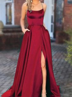 2020 Formal Dresses Party Dresses New Dress For Girls Teenage Occasion Dresses Semi Formal Wear Female Casual Formal Women'S Wear – swetson Prom Dresses With Pockets, Straps Prom Dresses, Cute Prom Dresses, Elegant Dresses, Long Dresses, Dresses Dresses, Summer Dresses, Dress Long, Pretty Dresses