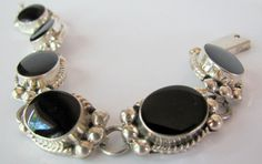 MEXICAN SILVER ONYX Link Bracelet by TheButterflyBoxdeitz on Etsy, $100.00