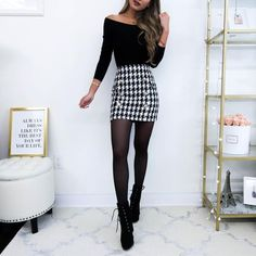 Lilli Houndstooth Skirt Thick Tweed, Winter Outfits, Back in stock yay! Winter Fashion Outfits, Casual Fall Outfits, Classy Outfits, Chic Outfits, Winter Outfits With Skirts, Black Outfits, Fashion Top, Fashion Clothes, Womens Fashion