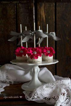 Glamorous Hot Pink Flower Wedding Cake Pops for 50 shades Wedding Cake Pops, Wedding Cakes With Cupcakes, Wedding Cakes With Flowers, Flower Cupcakes, Elegant Cake Pops, Elegant Cakes, Beautiful Cake Pictures, Beautiful Cakes, Pretty Cakes