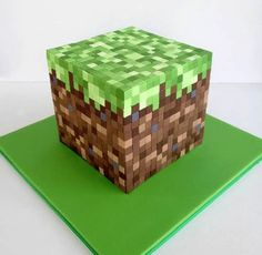 Minecraft CakeOMG I can't picture cutting all those little squares. Does look cool tho.