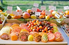 Love the idea of a tomato tray with all the different kinds of tomatoes we find at the farms!