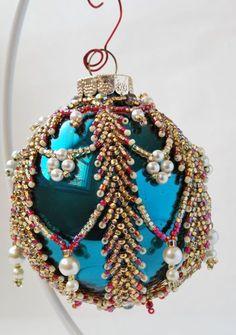 Beaded Blue Christmas Ornament