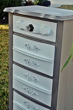 Vintage French Provincial Light Mocha and White Lingerie Chest.  I totally want this! No one would suspect fun play things enclosed in such beauty!