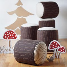 Campfire Tree Trunk Seat in Playhomes & Soft Seating | The Land of Nod