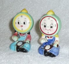 Vintage 'PY Japan' #Anthropomorphic Clock Face Salt and Pepper Shakers