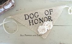 Ivory Dog of Honor Girl Collar with Flowers by AllLavenderandLove
