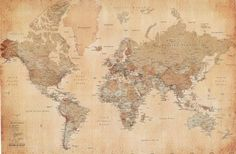 Sepia tone, vintage-style / antique-look world map. I would love to have it pinned to a cork board, so pins could be inserted into certain locations.