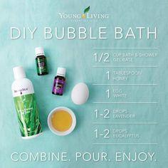 Purchase Young Living Essential oils for this refreshing bubble bath here. Young Living Oils, Young Living Essential Oils, Essential Oil Blends, Young Living Bath Salts, Shower Base, Shower Gel, Bath Shower, Mason Jar Crafts, Mason Jar Diy