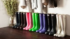 Hunter boots all in a row.