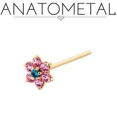 18ga Flower Nostril Screw in solid 18k yellow gold; Pink CZ, Mint Green CZ gemstones
