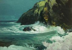 Find artworks by Frederick Waugh (American, 1861 - on MutualArt and find more works from galleries, museums and auction houses worldwide. Seascape Paintings, Landscape Paintings, Landscapes, Monhegan Island, Moonlight Painting, Sea Waves, Ocean Beach, Art Auction, Beautiful Paintings