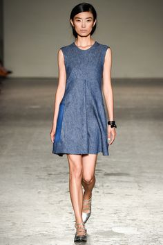 Gabriele Colangelo | Spring 2015 Ready-to-Wear | 16 Blue denim sleeveless mini dress