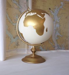 """Custom Guest Well Wishes Wedding Guestbook Hand Painted World Globe 12"""" Diameter by NewlyScripted on Etsy"""