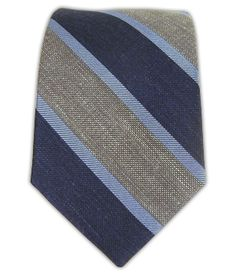 Linen Bold Stripe - Navy/Gray/Light Blue (Skinny) | Ties, Bow Ties, and Pocket Squares | The Tie Bar
