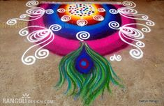 80 Best and Easy Rangoli Designs for Diwali Festival 36 peacock rangoli design by aakruti Diwali Greeting Cards, Diwali Greetings, Diwali Wishes, Happy Diwali, Diya Rangoli, Peacock Rangoli, Peacock Art, Indian Rangoli Designs, Kolam Designs