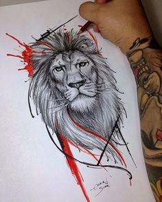 Lion tattoos hold different meanings. Lions are known to be proud and courageous. - Lion tattoos hold different meanings. Lions are known to be proud and courageous creatures. Leo Tattoos, Animal Tattoos, Future Tattoos, Sleeve Tattoos, Tatoos, Tattoo Trash, Trash Polka Tattoo, Tattoo Designs, Lion Tattoo Design
