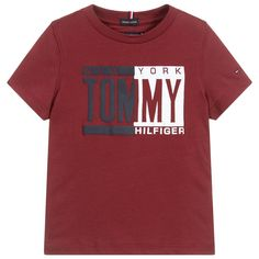 Comfortable burgundy red T-shirt for boys by American brand Tommy Hilfiger, made in organic cotton jersey. Printed on the front is a bold, puffed-effect logo in navy blue and red and the signature embroidered flag is on one sleeve. School Shirt Designs, School Shirts, Boys T Shirts, Tommy Hilfiger Kids, Tommy Hilfiger T Shirt, Nike Inspiration, Polo Shirt Outfits, Shirt Print Design, Organic Cotton T Shirts