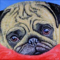 Cute Pug Puppy Dog by simon-knott-fine-artist at zippi.co.uk