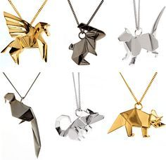 Love these, origami jewellery - find these and more at www.origamijewellery.com #origami