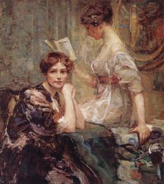 Two Women (c.1917-1918). Colin Campbell Cooper (American, 1856-1937).Oil on board.