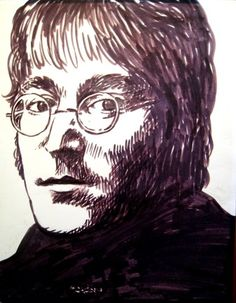 India ink drawing of John Lennon circa 1968 by Shaun Taylor