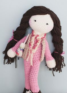 Long brown hair crochet doll. Comes with vest, purse, scarf & rosy cheeks. Ready to make precious memories. via Etsy