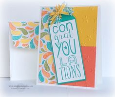 Congratulations card - Stampin Up Bravo stamp set and Birthday Bash dsp with Bermuda Bay, Crushed Curry and Calypso Coral, tag punch used on top
