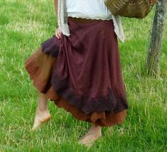 Elfn felt edged Cotton Wrap skirt Wild women clothing