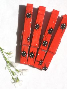 LADY BUG CLOTHESPIN hand painted magnetic clip by SugarAndPaint, $10.00