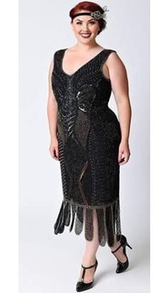 Unique Vintage Plus Size 1920s Black Beaded Sleeveless Hawkins Flapper Dress