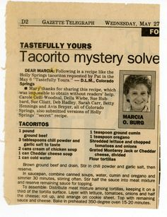 """""""Tacorito- Tastefully Yours"""" personally I'd reserve the lettuce, serve on side. Retro Recipes, Old Recipes, Vintage Recipes, Beef Recipes, Great Recipes, Cooking Recipes, Favorite Recipes, Hamburger Recipes, Recipes"""