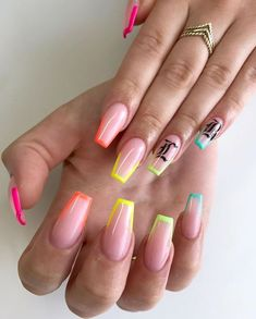 For my client who literally only has white gels every time, I'm proud of you 💖🤣 ***All Nail Art is painted freehand***… Neon Acrylic Nails, Acrylic Nails Coffin Short, Neon Nails, Rainbow Nails, Pastel Nails, Edgy Nails, Swag Nails, Edgy Nail Art, Grunge Nails
