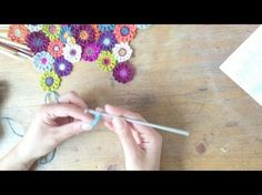 How to crochet a Japanese flower - lesson 1 Connecting Granny Squares, Knit Crochet, Crochet Earrings, Triangle, Hair Accessories, Knitting, Flowers, How To Make, Diy