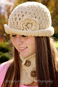 Hat and Scarf Hat & Cowl Set Rolled Brim Hat by Adorably Hooked