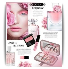 """Floral Fragrance"" by cara-mia-mon-cher ❤ liked on Polyvore featuring beauty, Shiseido, JINsoon, Lancôme, Ted Baker, Jimmy Choo, Gucci and NYX"