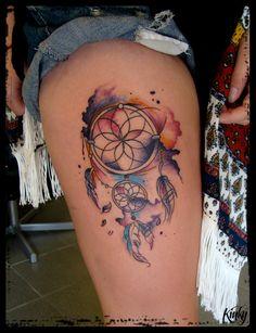 Łapacz snów #dreamcatcher #tattoo #watercolour #tatuaz #akwarela #lapaczsnow #kinkywiz #kinkytat #kinkywizard