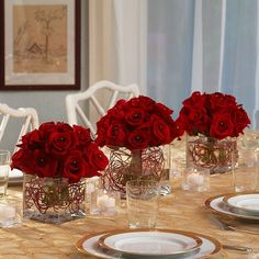 pictures of red roses  centerpieces | piece red rose centerpieces 3 piece rose centerpieces w vases order ...
